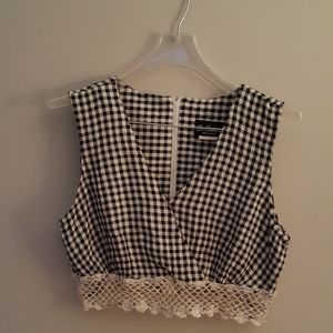 Tops - Black and white checkered crop top.